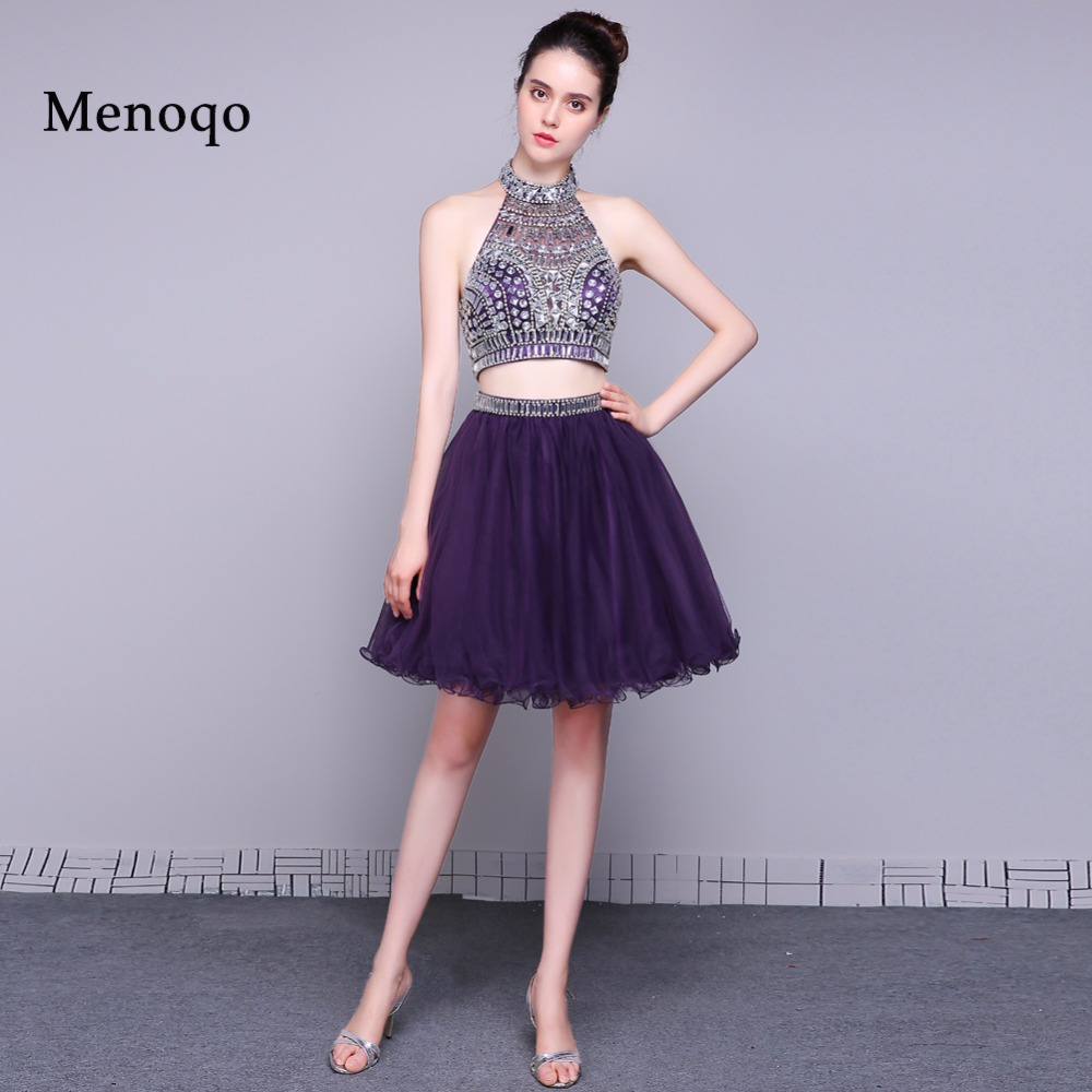 robe de   cocktail   2018 purple short   cocktail     dresses   Two Piece Real picture elegant high neck special occasion   dress   party gowns