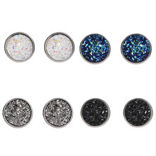 Multi Color Round Navy Blue Black Red Yellow Rough Druzy Drusy Stone Bead Charm Silver Color Push Back Stud Earrings For Women(China)