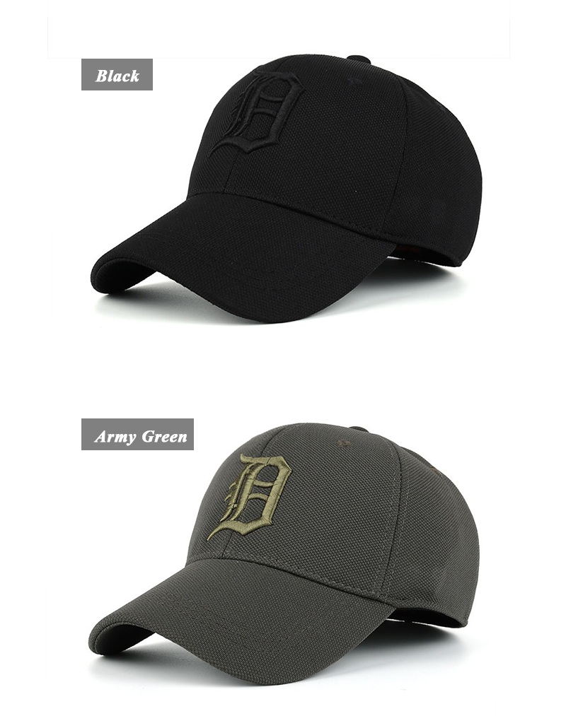 Embroidered Letter D and Baseball Fitted Baseball Cap - Black Cap and Army Green Cap Front Angle Views
