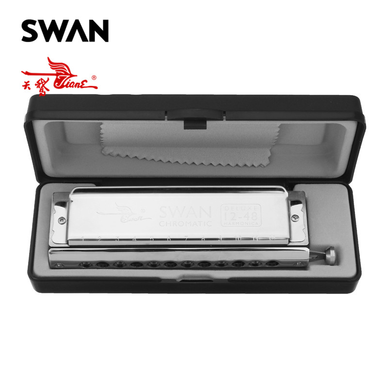 Swan SW1248-7 Professional 12 Holes 48 Tones Rounded Mouthpiece Chromatic Harmonica Woodwind Musical Instruments In Plastic Box swan chromatic harmonica 16 hole 64tune golden professional harp instrumentos chromatic square mouthpiece thicken the cover