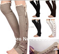 Long solid button down Lace Knitted Leg Warmers Boot  Boot Covers 24 pairs/lot mixed colors #3477