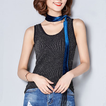 Women Sequin Sleeveless Sexy Tank Tops Summer Fitness Elegant Casual Blouse Shirts Camis Plain Black Silver Halter Female Vest