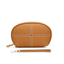 New Ladies Leather Shell Plaid Clutch Korean Version of Fashionable Slant Single Shoulder Small Round Womens Bag