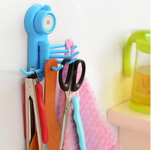 1Pcs Bathroom Kitchen Hook Seamless No Nail Strong Sucker Six-Claw Hook Max Load 1.5kg Size13*8cm