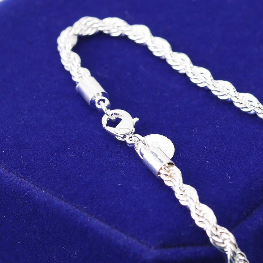 1PC כסף באיכות גבוהה מצופה צמידי צמידי 20cm פלאש מעוות חבל Pulseira צמידי תכשיטים