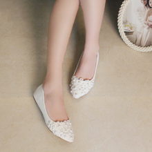 Woman Flats White Lace Bridesmaid Shoes Almond Toe Genuine Leather Lady Formal Dress Shoes Mother of the Brides