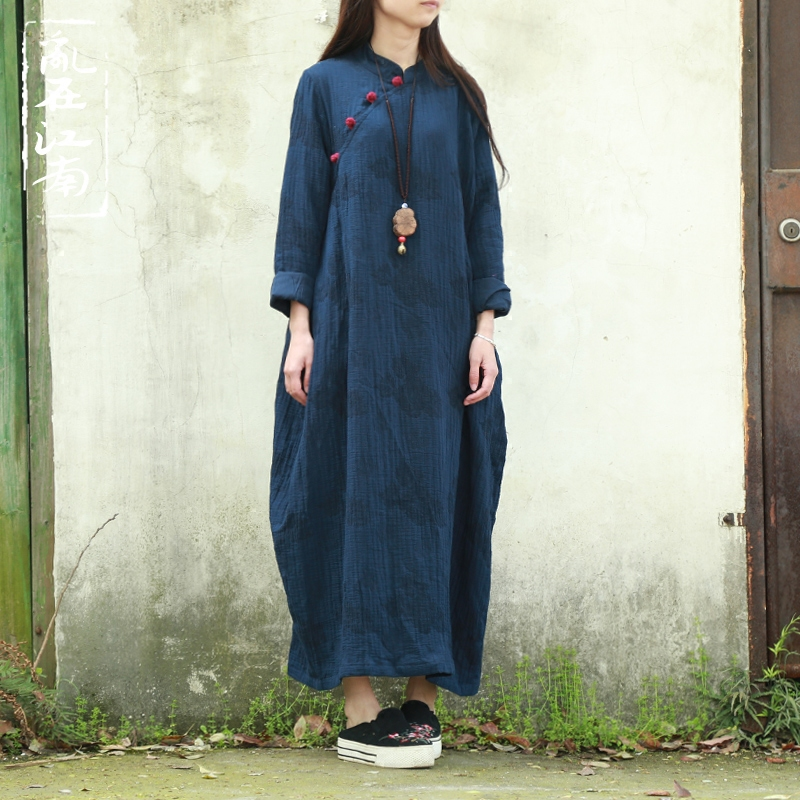 Spring Autumn literary cotton linen loose long sleeve dress Large Size robe vestidos