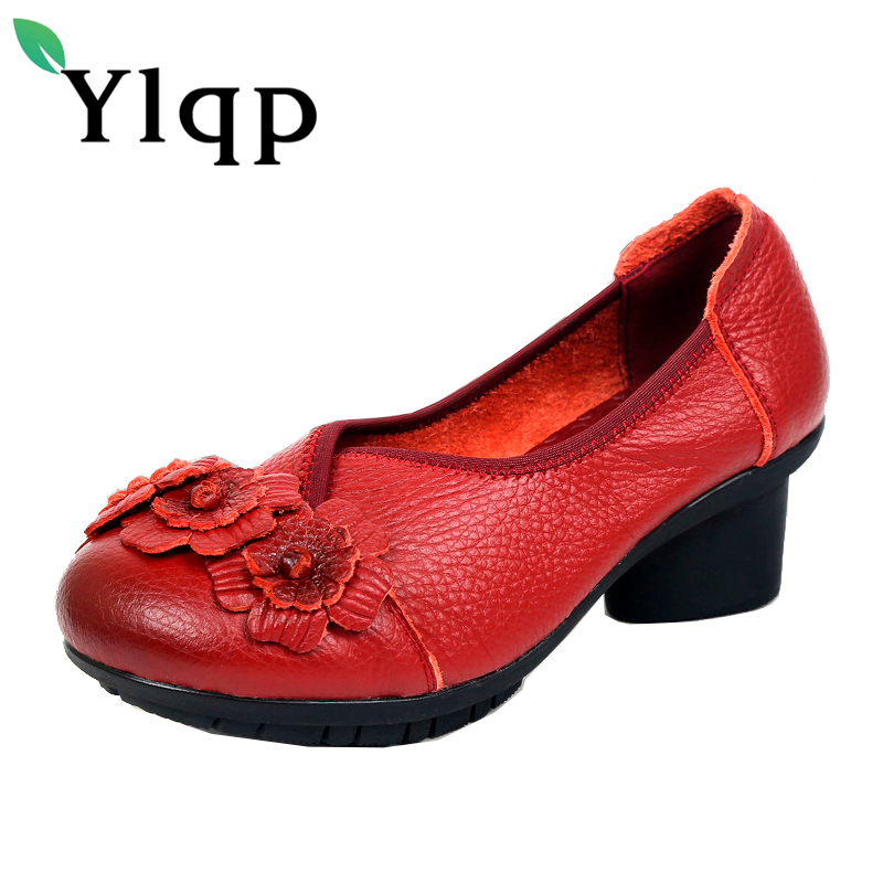 2017 National Wind Flowers Handmade Genuine Leather Shoes Women Retro Soft Bottom Summer floral High Heels Cowhide Leather Shoes new national wind flowers handmade genuine leather shoes women retro soft bottom flat shoes summer canvas ballet flats k62