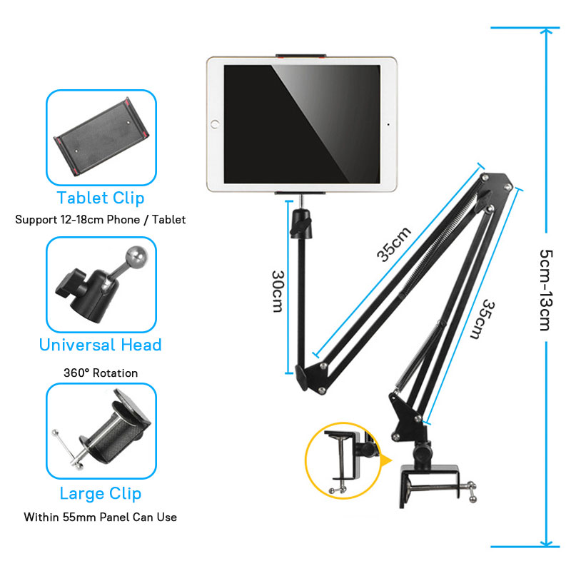 Image 4 - 3.5 to 10.6 inch Mobile Phone Tablet Stand Holder For iPhone iPad  Pro Mini Air 360 degree Long Arm Lazy Bed Desk Tablet MountTablet  Stands
