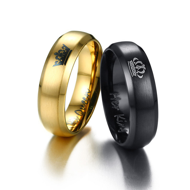 NEWBUY 2019 Fashion Her King And His Queen Crown Ring For Women Men Black/Gold Color Couple Wedding Ring Promise Jewelry