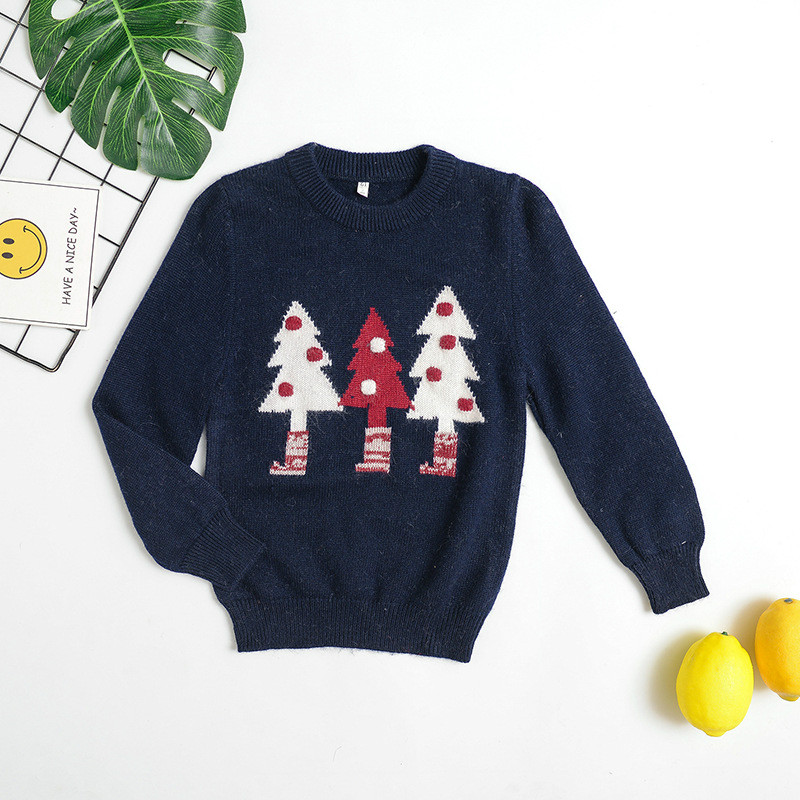 Christmas Tree Girl Pullover Sweater Boys Winter Clothes as Christmas Gift Knitted Childrens Warm Jacket Winter Toddler Sweater tree deer pattern knitted christmas sweater