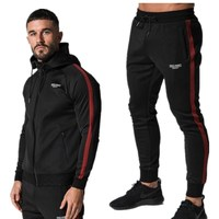 Men's wear 2018 muscle brothers autumn new cotton black stripe fitness running suit men morning exercise zipper fitness suit