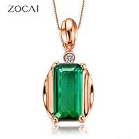 ZOCAI КОРОЛЕВА секс на вулкан 1.0 КТ зеленый турмалин DIAMOND18K розового золота кулон 925 Stering серебряная цепочка Ожерелье