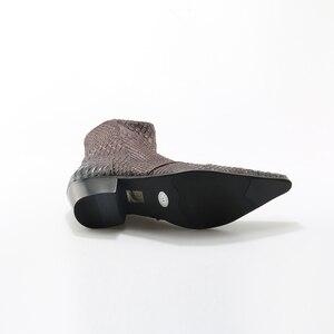 Image 5 - Cá Sấu Hạt Nâu Trắng Nam Mắt Cá Chân Giày Nổi Chính Hãng Áo Da Giày Mùa Xuân Cao Phẳng Giày Mới Nam Giày Cưới