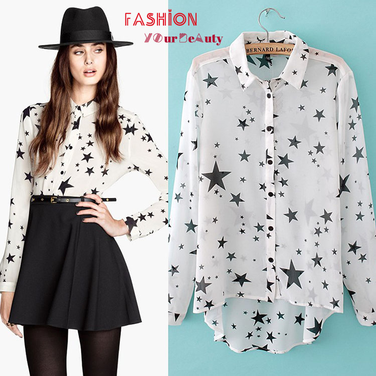 d6067b873790 Top quality white chiffon blouse black star printed