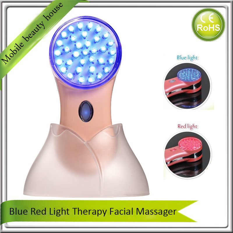 Mini Portable Home Use Red Blue Led Light Photon Therapy Anti Aging Acne Wrinkle Remover Skin Rejuvenation Face Beauty Machine high end mini vibration anti wrinkle ultrasonic massage eye wrinkles led light acne wrinkle remover face lifting beauty machine