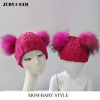 1 Pair Winter Pom Pom Bonnet Women Hat and Child Hat for Boys and Girls