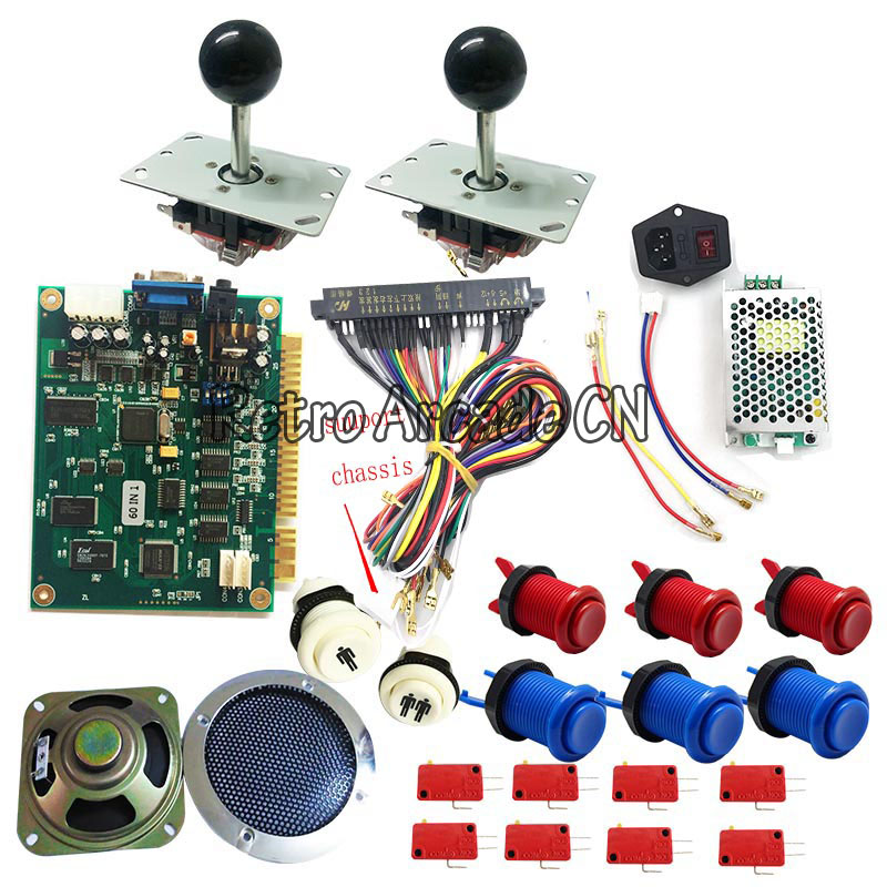 2 players Classic 60 In 1 DIY Arcade Bundles Kits Parts With Jamma Harness Joystick Push Button for mini Arcade Game Machine2 players Classic 60 In 1 DIY Arcade Bundles Kits Parts With Jamma Harness Joystick Push Button for mini Arcade Game Machine