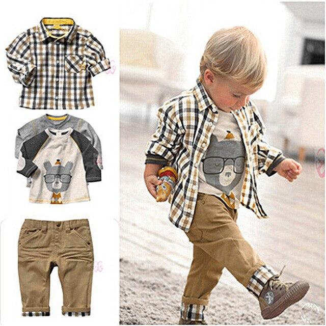 2017 новый, Бесплатная Доставка! весна и осень детская одежда установить cool boy 3 шт. одежды футболку + рубашка + брюки детская одежда розничная