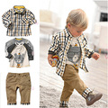 2017 nuevo, Libre Envío! primavera y otoño ropa de los niños fijaron cool boy 3 unids ropa camiseta + camisa + pantalones ropa de los cabritos venta al por menor