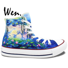 Wen Hand Painted Shoes Design Custom Water Lilies Lotus Men Women's High Top Canvas Sneakers for Birthday Gifts