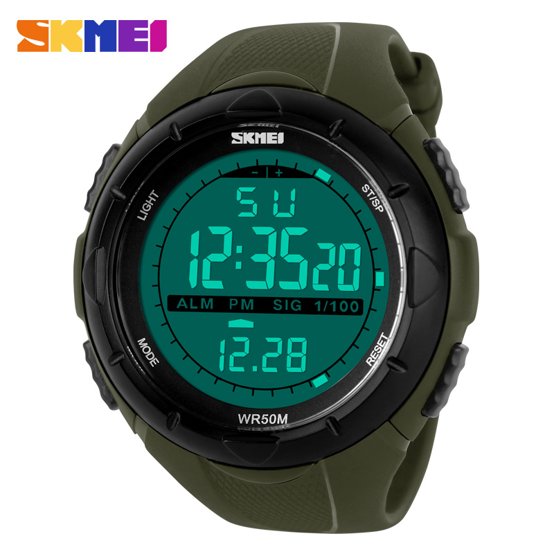SKMEI Men Climbing Sports Digital Wristwatches Big Dial Military Watches Alarm Shock Resistant Waterproof Watch 1025
