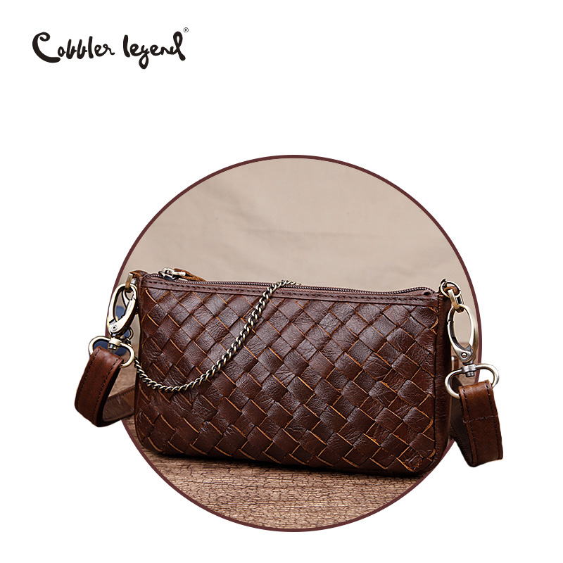 Cobbler Legend Woven Designer Bag 100% Real Genuine Leather Women Small Chain Shoulder Clutch Lady Crossbody Bag Purse Fashion cobbler legend 2015 messenger 100