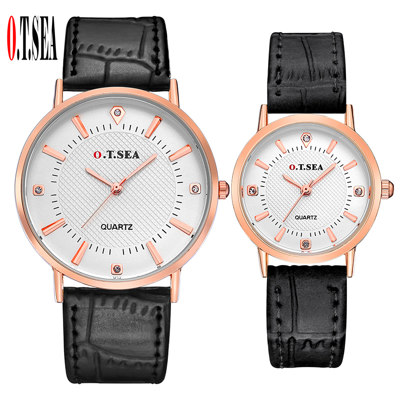 Luxury O.T.SEA Brand Pair Leather Watches Men Women Lovers Fashion Crystal Dress Quartz Wristwatches 6688-6