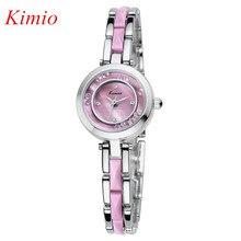 Mujeres KIMIO Relojes de moda reloj 2016 Reloj Mujer de Cristal de línea de acero inoxidable de cuarzo para mujer reloj Pulsera de Cerámica