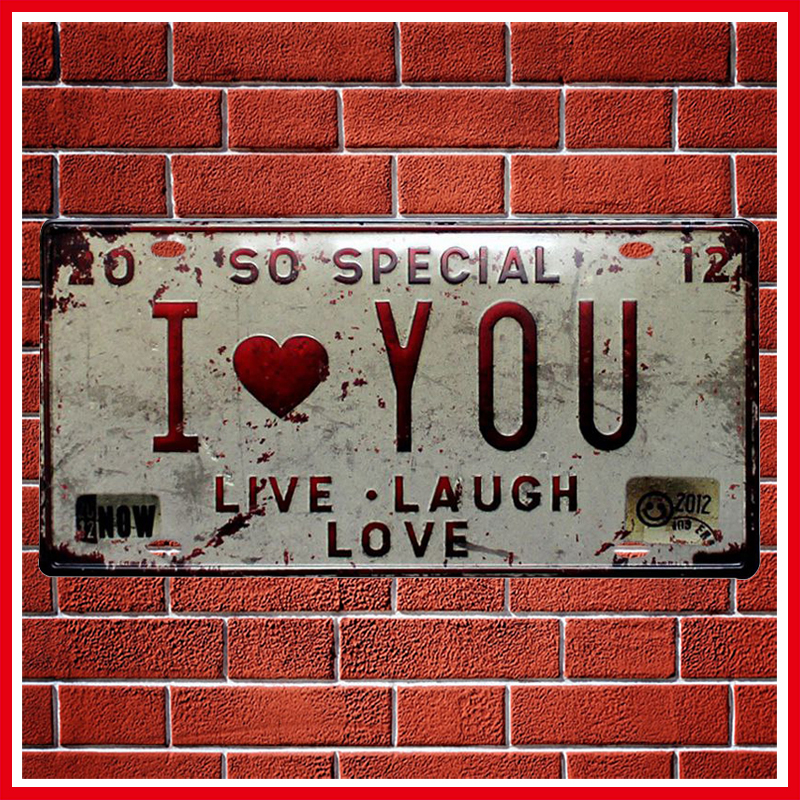 I Love You Car License Metal Plate Vintage Home Decor Tin Sign BarPubHotel Decorative Metal Sign Art Painting Metal Plaque