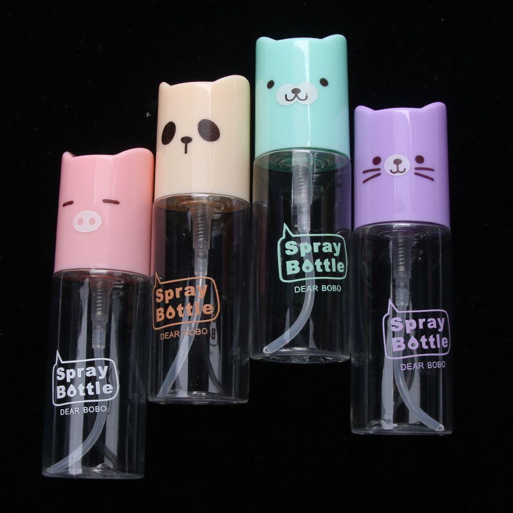 1pc 35ml Cartoo Travel Plastic Spray Refillable Bottle Transparent Atomizer Skin Care Moist Spray Bottle Random Color