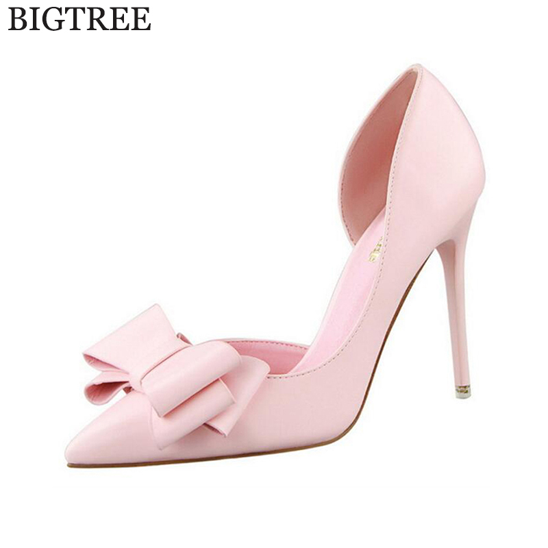цены New Hollow Pointed Stiletto Elegant Spring Summer Women Pumps Sweet Bowknot High-heeled Shoes Thin Pink High Heel Shoes k88