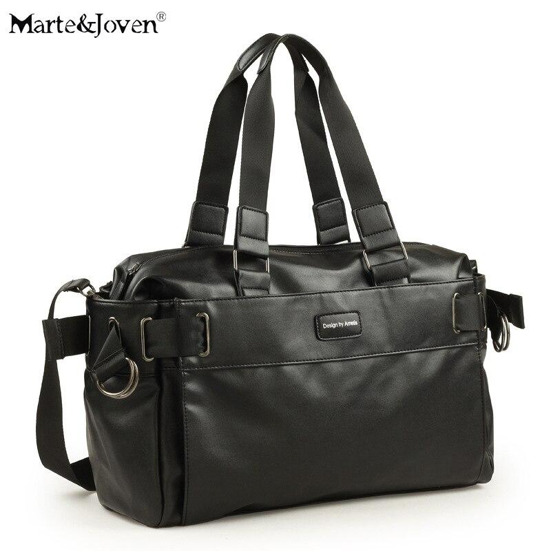 MJ Bag Store Brand Design Black PU Leather Large Capacity Travel Bags for Men High Quality European Retro Traveling Shoulder Bag Luggage Bag