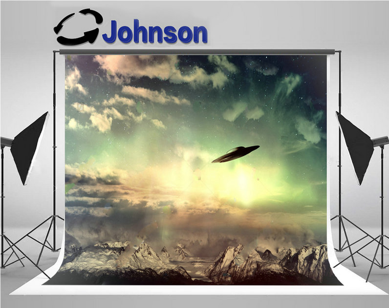 ufo sky glowing light clouds snow mountains photo backdrop Vinyl cloth High quality Computer print wall background