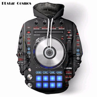 New Fashion Hoodies Vinly DJ Music Studio 3D All Over Print Hooded Pullover Hip Hop Jumper