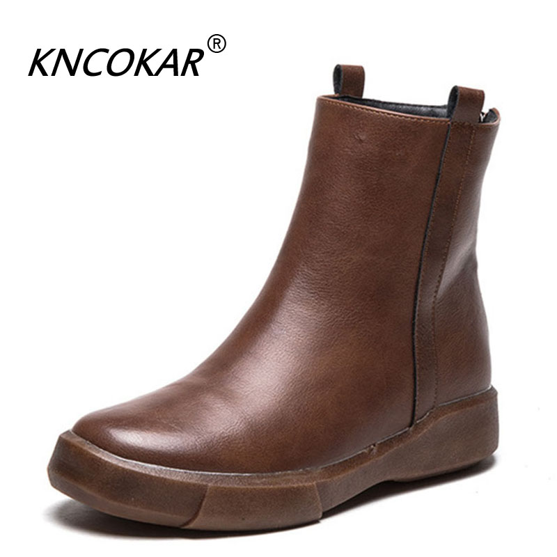 KNCOKAR  Winter New Style Flat Martin Boot Velvet Retro Casual Ankle Boots Round Head Waterproof Platform Boots For WomenKNCOKAR  Winter New Style Flat Martin Boot Velvet Retro Casual Ankle Boots Round Head Waterproof Platform Boots For Women
