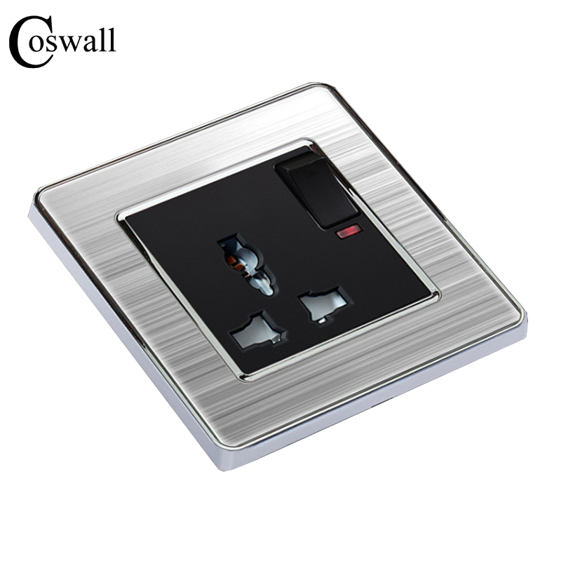 coswall-universal-3-hole-switched-socket-with-neon-luxury-wall-power-outlet-enchufe-stainless-steel-panel-electrical-plug
