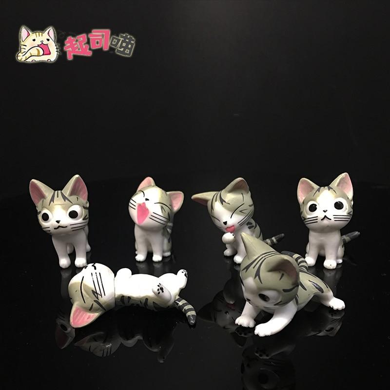 4cm 6pcs lot Japanese cute anime figure Cheese cat action figure set miniature figurines toys cute