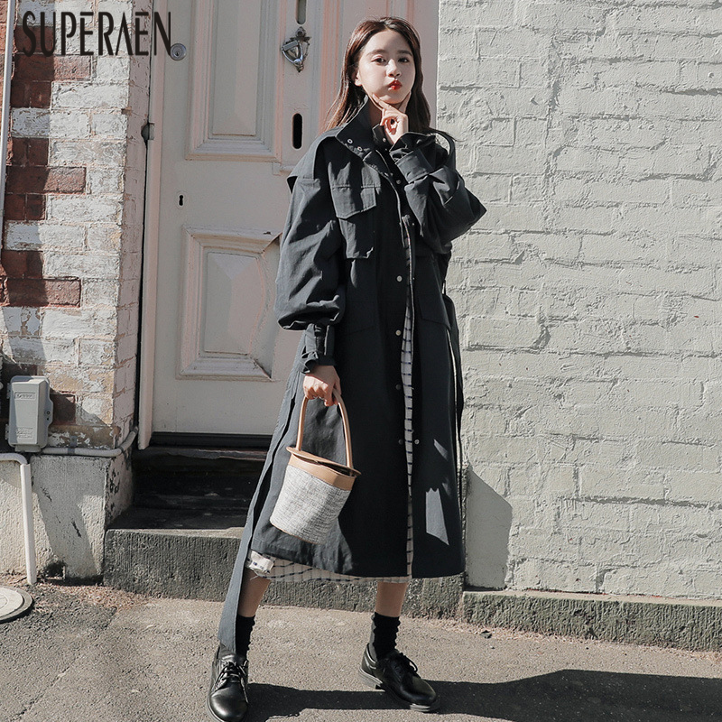SuperAen 2019 Spring New   Trench   Coat for Women Solid Color Wild Cotton Ladies Windbreaker Korean Style Fashion Women Clothing