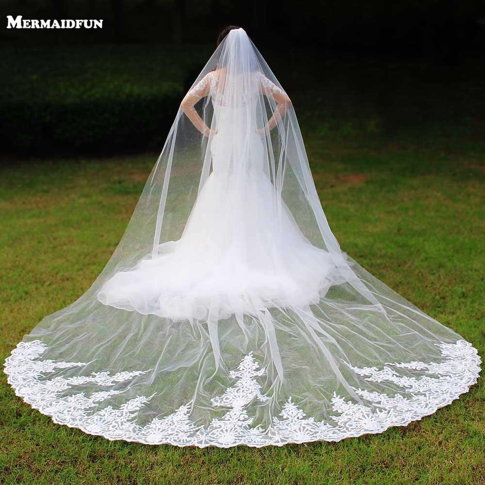 Real Photos One Layer 4 Meters Long Lace Woodland Wedding Veil With Comb 4 M Voile De Mariee Bridal Veil Veu De Noiva