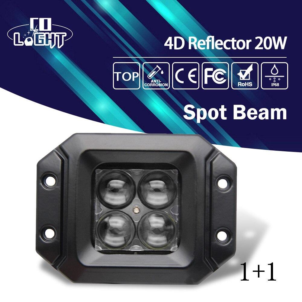 CO LIGHT 20W Led Work Light 1 Pair 5'' Spot Flood Beam Daytime Running Lights for Lada Niva Jeep Ford 4X4 Offroad 9-30V