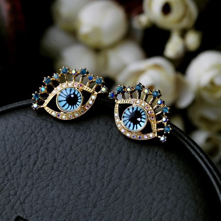Stud Earrings Jewelry & Accessories New Womens Earring Bling Bling Blue Doll Eyes Eyelashes Crystal Colorful Stone Gold Alloy Metal Ear Earrings Lady Jewelry Good Reputation Over The World