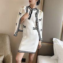 2018 autumn Winter Runway Knitted two Piece Set Women Elegant Flower  Embroidery Mohair Wool Cardigan + Short Sweater Dress Suit d77699e765f1