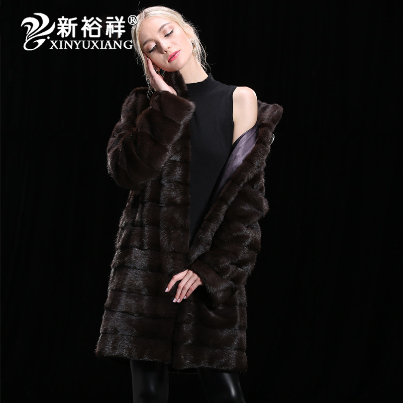 XINYUXIANG 2018 100% натуральный мех норки пальто womem зиму Кожаные куртки теплая дутая куртка натуральный мех настроить пальто 19NEW