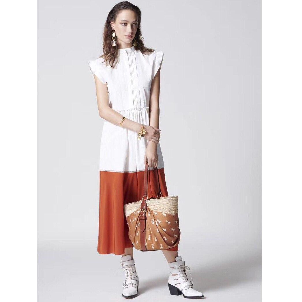 Haut de gamme femmes qualité 2019 coton soie longue robe col rond sans manches robe col montant volant manches orgue pli robe