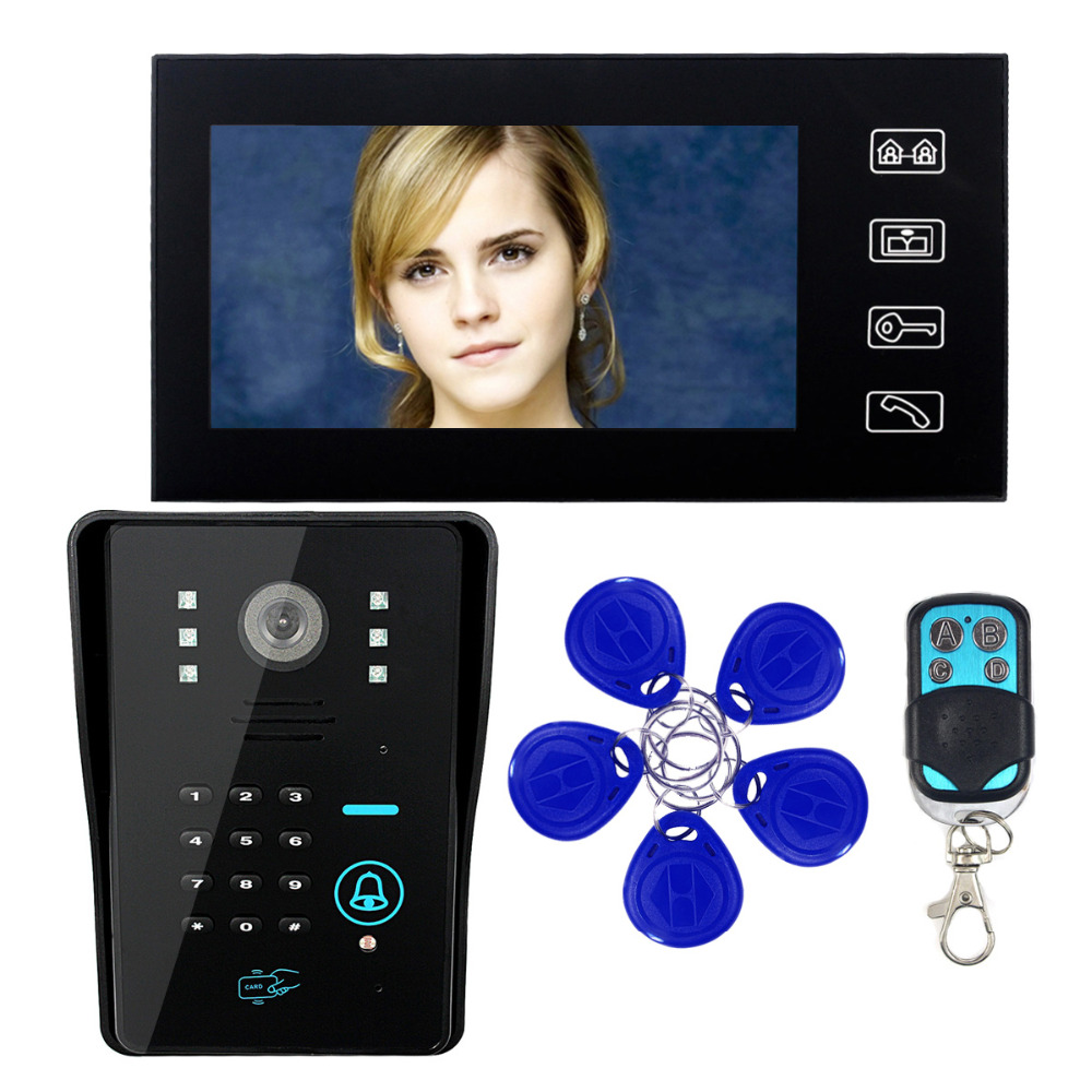 Touch Key Video Door Phone Intercom System 7 LCD for font b RFID b font Password