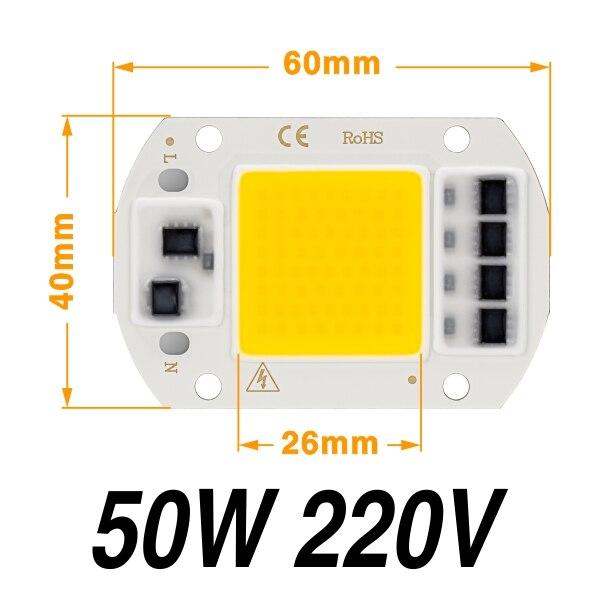Светодиодный фито-светильник с чипом COB, полный спектр, AC220V, 10 Вт, 20 Вт, 30 Вт, 50 Вт, для выращивания растений в помещении, рост рассады и рост цветов, Fitolamp - Испускаемый цвет: 50W 220V