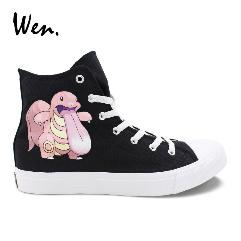 Wen Solid Black High Top Vulcanize Shoes Canvas Graffiti Painting Pokemon Lickitung Hand Painted Sneakers Casual Flat Lacing e lov women casual walking shoes graffiti aries horoscope canvas shoe low top flat oxford shoes for couples lovers
