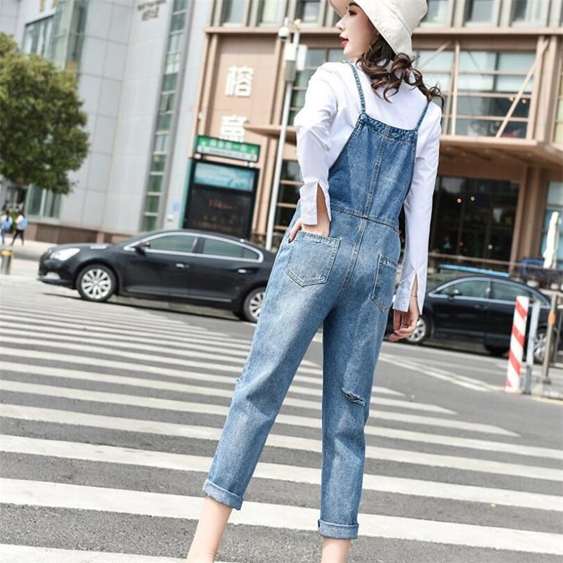 2019 new women Denim Jumpsuit fashion hole Streetwear Bodycon femme casual Suspender Pants jeans Overalls w568 18