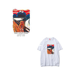 Fashion Trend DIY T-shirt Red Monster Ironing Patches Clothing Application Vinyl Heat Transfer Clothes Sticker Appliques Decor